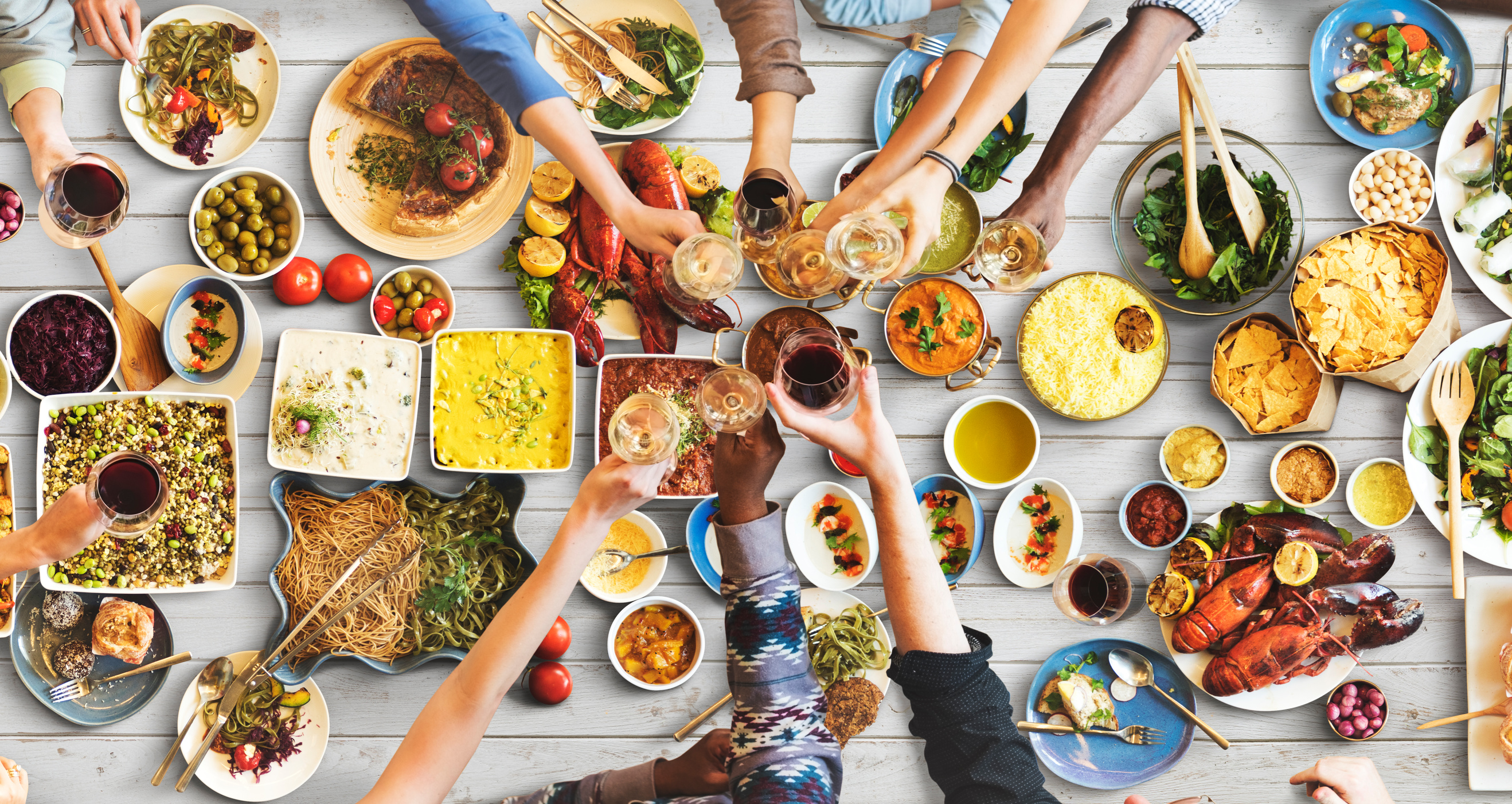 Gesundes Dinner mit Freunden